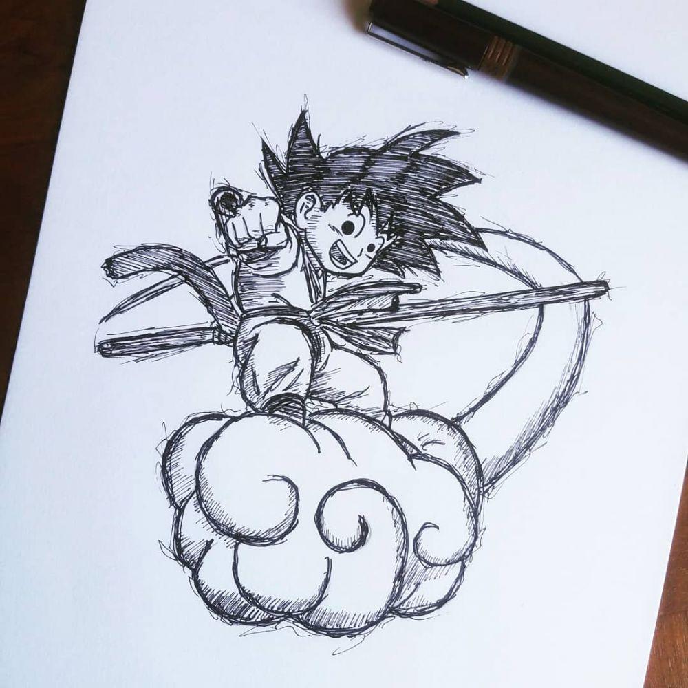 Dessin Original Dragon Ball Goku Enfant Nuage D Occasion