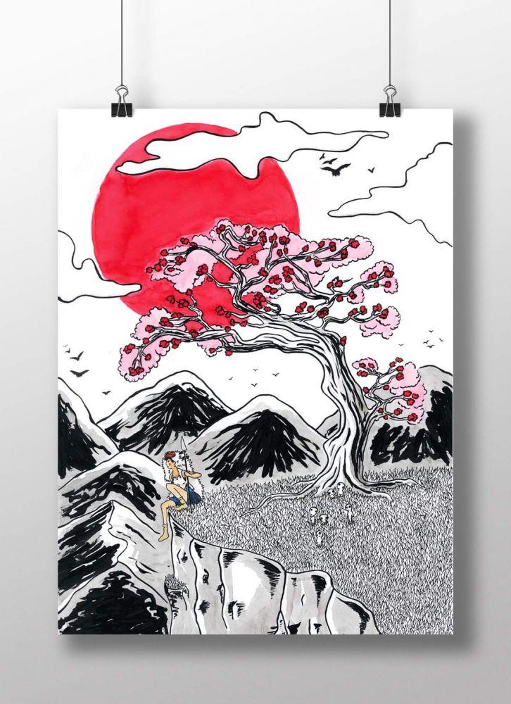 Dessin Original Princesse Mononoké Sur Manga Occasion