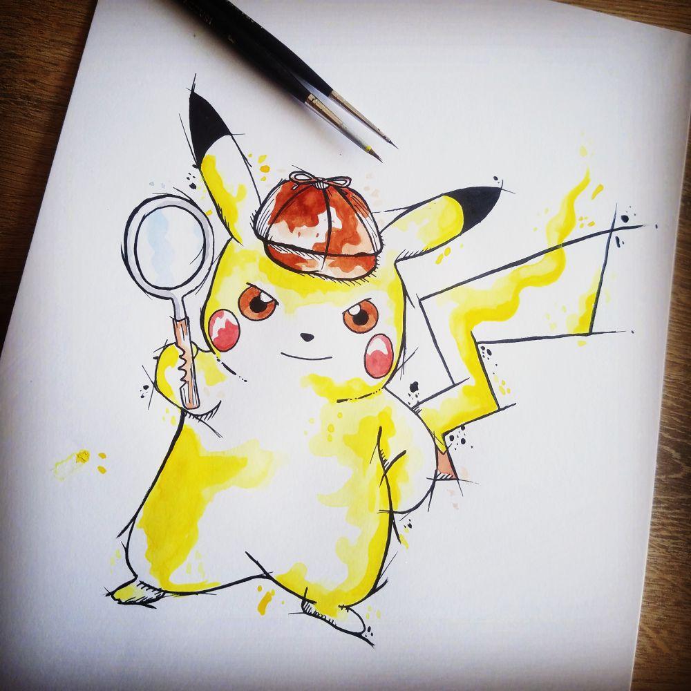Dessin Original Pokémon Pikachu Sur Manga Occasion